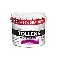 Peinture bicouche murs plafonds boiseries Tollens blanc velours 10L + 20% gratuit