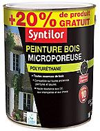 Peinture bois microporeuse intérieur extérieur blanc brillant Syntilor 2,5L + 20%