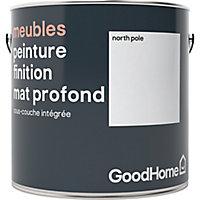 Peinture de rénovation meubles GoodHome blanc North Pole mat profond 2L