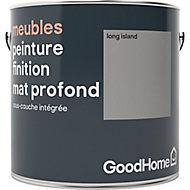 Peinture de rénovation meubles GoodHome gris Long Island mat profond