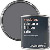 Peinture de rénovation meubles GoodHome gris Meriden satin 125ml