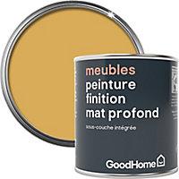 Peinture de rénovation meubles GoodHome jaune Chueca mat profond 125ml