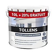 Peinture façade Tollens express blanc 10L+ 20% gratuit