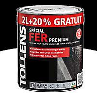 Peinture fer extérieur/intérieur noir satin Tollens 2L + 20% gratuit
