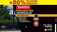 Peinture fer Syntilor Ultra Protect blanc satin 1,5L + 20% gratuit