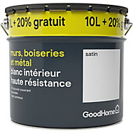 Peinture haute résistance GoodHome blanc satin 10 + 2 L