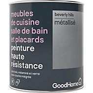 Peinture haute résistance meubles de cuisine salle de bain et placards GoodHome argent Beverly Hills mat 0,75L