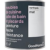 Peinture haute résistance meubles de cuisine salle de bain et placards GoodHome blanc North Pole mat 0,75L