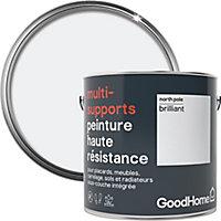 Peinture haute résistance multi-supports GoodHome blanc North Pole brillant 2L