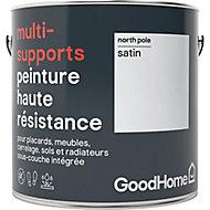 Peinture haute résistance multi-supports GoodHome blanc North Pole satin 2L