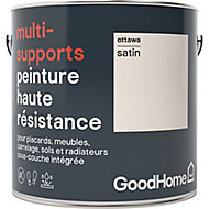 Peinture haute résistance multi-supports GoodHome blanc Ottawa satin 2L