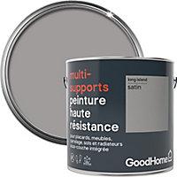 Peinture haute résistance multi-supports GoodHome gris Long Island satin 2L