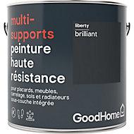 Peinture haute résistance multi-supports GoodHome noir Liberty brillant 2L