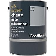 Peinture haute résistance sol et escalier GoodHome gris Bronx mat 2L