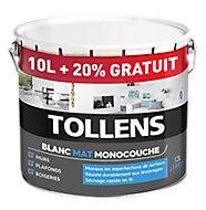 Peinture monocouche murs plafonds boiseries Tollens blanc mat 10L + 20% gratuit