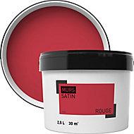 Peinture murale rouge satin 2,5L