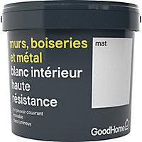Peinture murs boiseries et métal GoodHome haute résistance blanc mat 5L