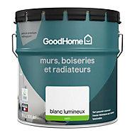 Peinture murs boiseries et métal GoodHome haute résistance blanc satin 10L