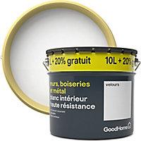 Peinture murs, boiseries et métal GoodHome haute résistance blanc velours 10L + 20% offert