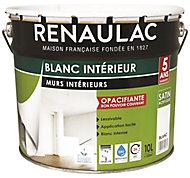 Peinture murs et boiseries bicouche blanc satin Renaulac 10L