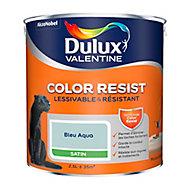 Peinture murs et boiseries Dulux Valentine Color Resist bleu aqua satin 2,5L