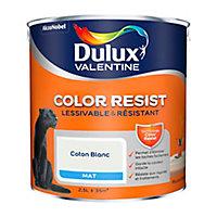 Peinture murs et boiseries Dulux Valentine Color Resist coton blanc mat 2,5L