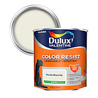 Peinture murs et boiseries Dulux Valentine Color Resist feuille blanche satin 2,5L