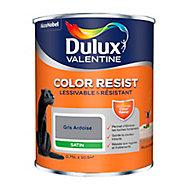Peinture murs et boiseries Dulux Valentine Color Resist gris ardoise satin 0,75L