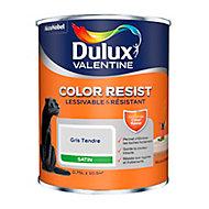 Peinture murs et boiseries Dulux Valentine Color Resist gris tendre satin 0,75L
