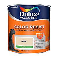 Peinture murs et boiseries Dulux Valentine Color Resist ivoire satin 2,5L