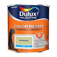 Peinture murs et boiseries Dulux Valentine Color Resist thé macha mat 2,5L