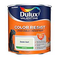 Peinture murs et boiseries Dulux Valentine Color Resist zeste vert satin 2,5L