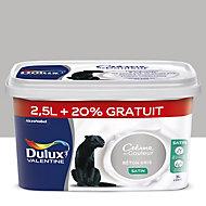 Peinture murs et boiseries Dulux Valentine Crème de couleur béton gris satin 2,5L + 20% gratuit