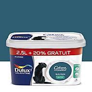 Peinture murs et boiseries Dulux Valentine Crème de couleur bleu paon satin 2,5L + 20% gratuit