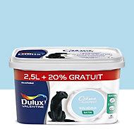 Peinture murs et boiseries Dulux Valentine Crème de couleur bleu rêveur satin 2,5L + 20% gratuit