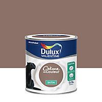 Peinture murs et boiseries Dulux Valentine Crème de couleur ours brun satin 0,5L