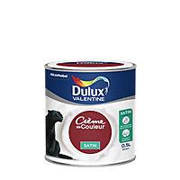 Peinture murs et boiseries Dulux Valentine Crème de couleur rouge glamour satin 0,5L