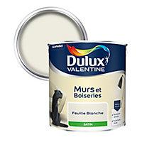 Peinture murs et boiseries Dulux Valentine feuille blanche satin 2,5L
