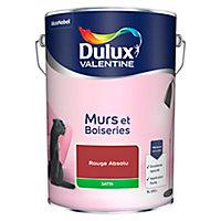 Peinture murs et boiseries Dulux Valentine rouge absolu satin 5L