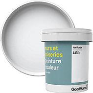 Peinture murs et boiseries GoodHome blanc North Pole satin 0,75L
