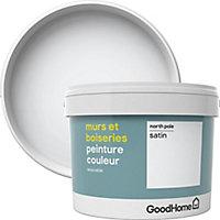 Peinture murs et boiseries GoodHome blanc North Pole satin 2,5L