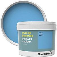 Peinture murs et boiseries GoodHome bleu Fréjus satin 2,5L