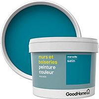 Peinture murs et boiseries GoodHome bleu Marseille satin 2,5L