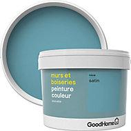 Peinture murs et boiseries GoodHome bleu Nice satin 2,5L