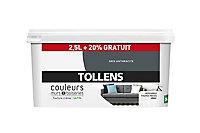 Peinture murs et boiseries Tollens gris anthracite satin 2,5L +20% gratuit