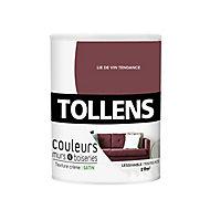 Peinture murs et boiseries Tollens lie de vin tendre satin 0,75L