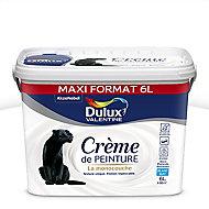 Peinture murs et plafonds Dulux Valentine Crème de peinture blanc mat 6L