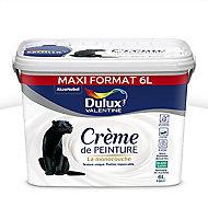 Peinture murs et plafonds Dulux Valentine Crème de peinture blanc satin 6L
