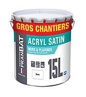 Peinture murs et plafonds Franbat blanc satin 15L
