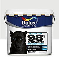 Peinture murs, plafonds et boiseries Dulux Valentine 98% monocouche blanc mat 5L